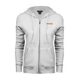 ENZA Ladies White Fleece Full Zip Hoodie-Spartans Word Mark