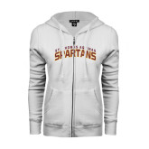 ENZA Ladies White Fleece Full Zip Hoodie-St. Thomas Aquinas Spartans Arched