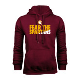 Maroon Fleece Hoodie-Fear The Spartans
