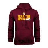 Maroon Fleece Hoodie-Fear The Spartans