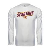 Performance White Longsleeve Shirt-Spartans Angled