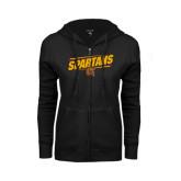 ENZA Ladies Black Fleece Full Zip Hoodie-Spartans Angled
