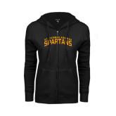 ENZA Ladies Black Fleece Full Zip Hoodie-St. Thomas Aquinas Spartans Arched