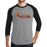 Grey/Black Tri Blend Baseball Raglan-Spartan Athletics