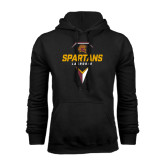 Black Fleece Hoodie-Spartans Geometric Lacrosse Head