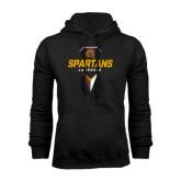 Black Fleece Hoodie-Spartans Geometric Lacrosse Head