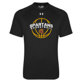 Under Armour Black Tech Tee-Spartans Basketball Arched w/ Ball