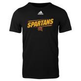 Adidas Black Logo T Shirt-Spartans Angled