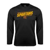 Performance Black Longsleeve Shirt-Spartans Angled