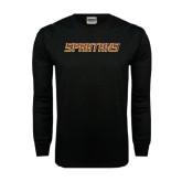 Black Long Sleeve TShirt-Spartans Word Mark