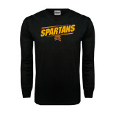 Black Long Sleeve TShirt-Spartans Angled