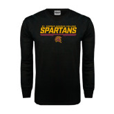 Black Long Sleeve TShirt-St. Thomas Aquinas Spartans Stacked w/ Bar