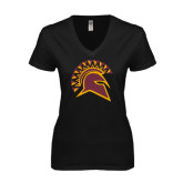 Next Level Ladies Junior Fit Deep V Black Tee-Official Logo