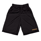 Russell Performance Black 9 Inch Short w/Pockets-Spartans Word Mark