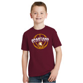 Youth Maroon T Shirt-Spartans Basketball Arched w/ Ball