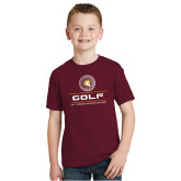 Youth Maroon T Shirt-St. Thomas Aquinas Golf Stacked