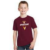 Youth Maroon T Shirt-Spartans Geometric Lacrosse Head