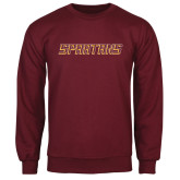 Maroon Fleece Crew-Spartans Word Mark