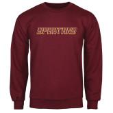 Maroon Fleece Crew-Spartans Word Mark