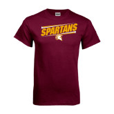 Maroon T Shirt-Spartans Angled