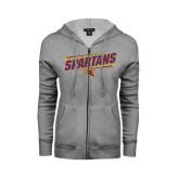 ENZA Ladies Grey Fleece Full Zip Hoodie-Spartans Angled