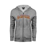 ENZA Ladies Grey Fleece Full Zip Hoodie-St. Thomas Aquinas Spartans Arched