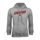 Grey Fleece Hoodie-Spartans Angled