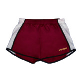 Ladies Maroon/White Team Short-Spartans Word Mark