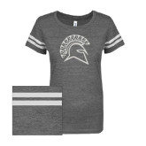 ENZA Ladies Dark Heather/White Vintage Triblend Football Tee-Official Logo White Soft Glitter