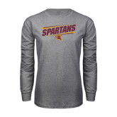 Grey Long Sleeve T Shirt-Spartans Angled