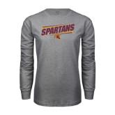 Grey Long Sleeve T Shirt-Spartans Angled