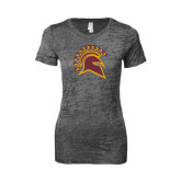 Next Level Ladies Junior Fit Dark Grey Burnout Tee-Official Logo