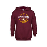 Youth Maroon Fleece Hoodie-Spartans Basketball Arched w/ Ball