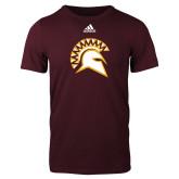 Adidas Maroon Logo T Shirt-Official Logo