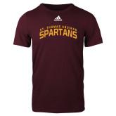 Adidas Maroon Logo T Shirt-St. Thomas Aquinas Spartans Arched