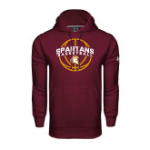 Under Armour Maroon Performance Sweats Team Hoodie-Spartans Basketball Arched w/ Ball