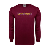 Maroon Long Sleeve T Shirt-Spartans Word Mark