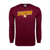 Maroon Long Sleeve T Shirt-Spartans Angled