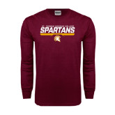 Maroon Long Sleeve T Shirt-St. Thomas Aquinas Spartans Stacked w/ Bar