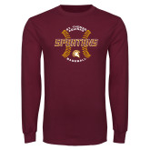 Maroon Long Sleeve T Shirt-Spartans Baseball w/ Seams