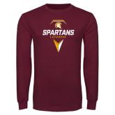 Maroon Long Sleeve T Shirt-Spartans Geometric Lacrosse Head