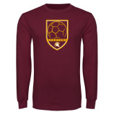 Maroon Long Sleeve T Shirt-Spartans Soccer Shield