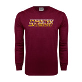 Maroon Long Sleeve T Shirt-Spartan Athletics Word Mark