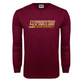 Maroon Long Sleeve T Shirt-Club Hockey