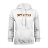 White Fleece Hoodie-Spartans Word Mark