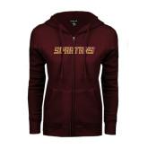 ENZA Ladies Maroon Fleece Full Zip Hoodie-Spartans Word Mark