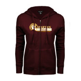 ENZA Ladies Maroon Fleece Full Zip Hoodie-Spartan Athletics