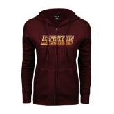 ENZA Ladies Maroon Fleece Full Zip Hoodie-Spartan Athletics Word Mark