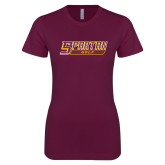 Next Level Ladies SoftStyle Junior Fitted Maroon Tee-Golf