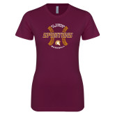 Next Level Ladies SoftStyle Junior Fitted Maroon Tee-Spartans Baseball w/ Seams